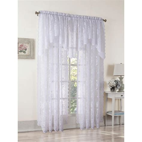 White Drapery by Lichtenberg Sheer White Alison Lace Curtain Panel 58 In