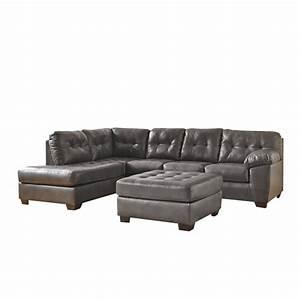 Ashley alliston left chaise leather sectional with ottoman for Ashley sectional sofa with ottoman