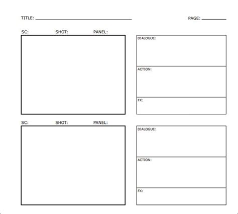 examples  storyboard templates word