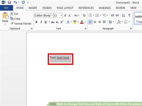 change text in paraboot template how to change font size and style of text in ms office