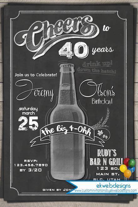 cheers  years beer birthday invitation chalkboard