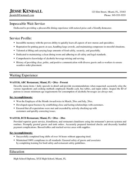 Objective Exles For Resume For Waitress by Sle Waitress Resume Exles Resume Resume Exles Resume And Templates