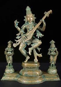 Sold, Bronze, Saraswati, Statue, With, 2, Deepa, Lakshmi, 12, U0026quot, 57b75, Hindu, Gods, U0026, Buddha, Statues