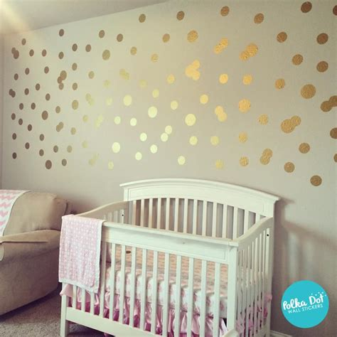 metallic gold polka dot wall decals peel  stick