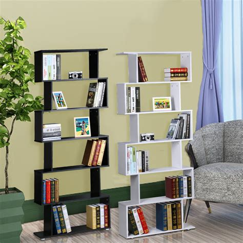 S Shaped Bookcase by 6tie S Shape Wood Bookcase Bookshelf Shelves Storage