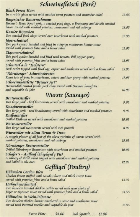 german cuisine menu nurnberger german restaurant in livingston staten island