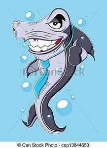 Clipart Vector of Evil Business Cartoon Shark Vector ...