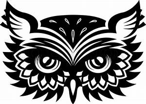 Black and white wise old horned owl head with big eyes and ...
