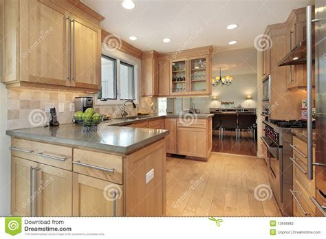 Kitchen With Oak Wood Paneling Stock Photography   Image