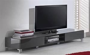 Meuble Gris Laqué : meuble tv bas laque gris ~ Nature-et-papiers.com Idées de Décoration