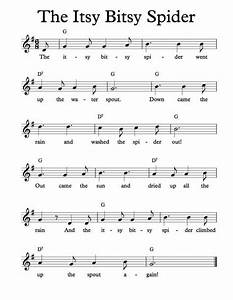 free sheet music for itsy bitsy spider childrens song With children s piano music with letters