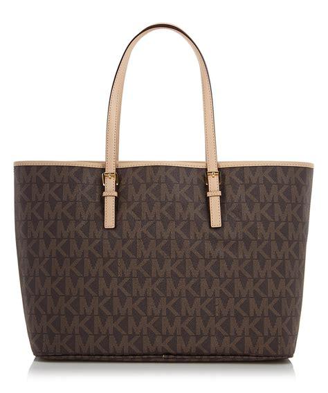 discount brown leather mk logo tote bag secretsales