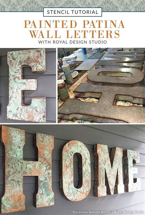 outdoor decor tutorial painted patina wall letters royal design studio stencils