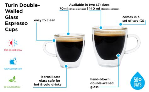 Iced coffee, bubble tea and smoothies. Amazon.com | Grosche Turin Double Walled Hand Blown Glass Espresso Cups 140ml 4.7 Oz. Set of 2 ...