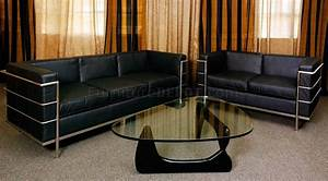 Le Corbusier Stil : black leather le corbusier style modern 4pc living room set ~ Michelbontemps.com Haus und Dekorationen