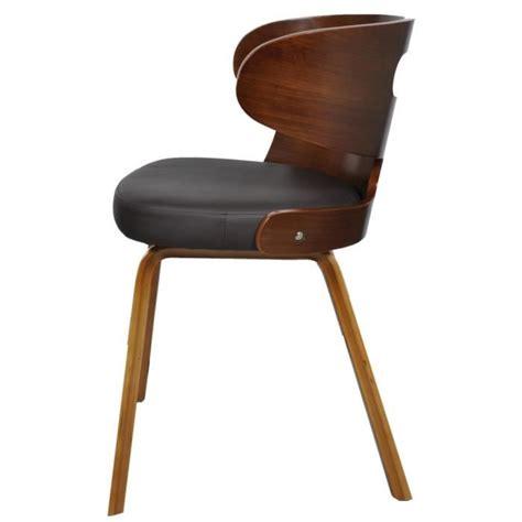 4 chaises pas cher lot de 4 chaises de salle à manger en cuir mélangé brun