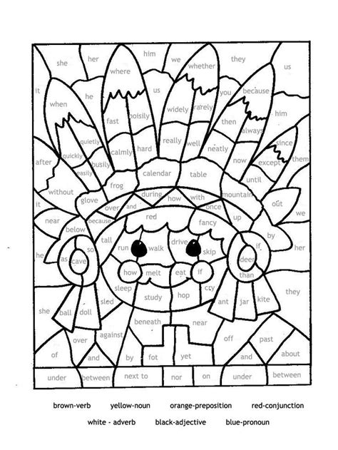 educational coloring pages  parts  speech paint