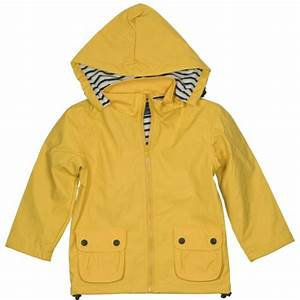 Yellow raincoat for boys and girls featuring nautical ...