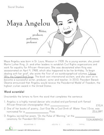 historical heroes angelou comprehension