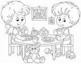 Coloring Cartoon Eating Lunch Breakfast Children Vector Nursery Illustration Funny Transferred Shutterstock Vectors sketch template