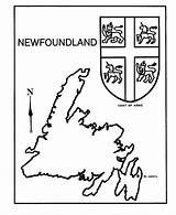 Canada Pages Coloring Newfoundland Map Arms Coat Colouring Sheets Provincial Canadian Flag Honkingdonkey Fun Outline Printable Activity Flags Provinces Geography sketch template