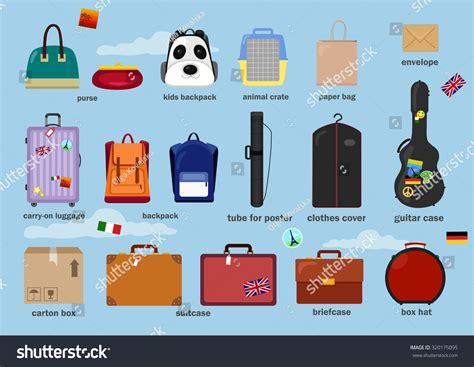 47 Types Of Luggage, Vector Set Of Travel Bags