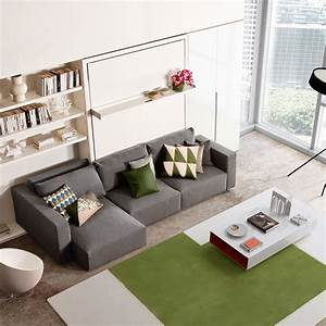 swing queen wall bed sofa with chaise save space With wall bed sofa systems