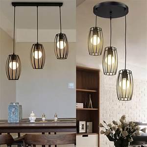 Industrial, Pendant, Light, Vintage, Black, Metal, Cage, Chandelier, Lighting, Adjustable, Hanging