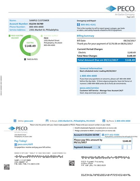 sample home electric bill peco  exelon company