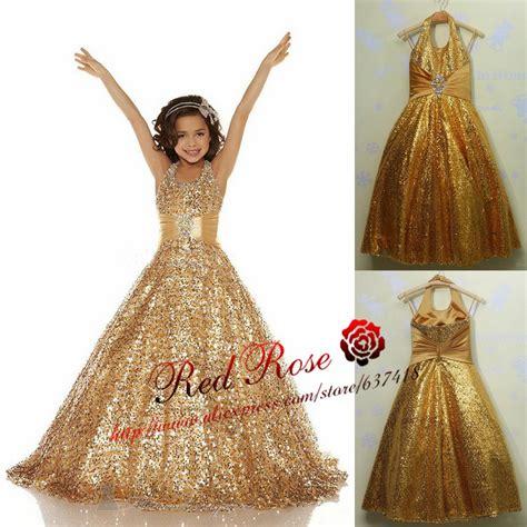 buy real photo gold flower girl dress