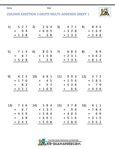 free math addition worksheets 4th grade
