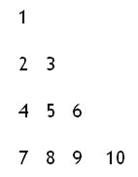 How to make the number triangle pattern 1 in php