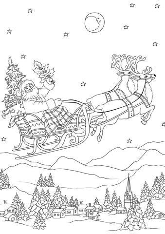 santa flying   sleigh pulled  reindeers  night coloring page  printable coloring
