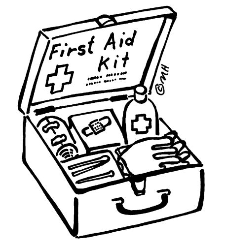 coloring page  aid kit kids safety pinterest