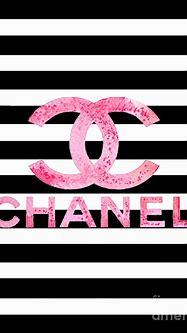Chanel pink logo on stripes Digital Art by Del Art