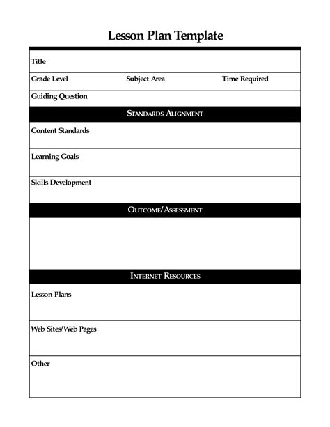 Lesson Plans Template Printable Lesson Plan Template Free To