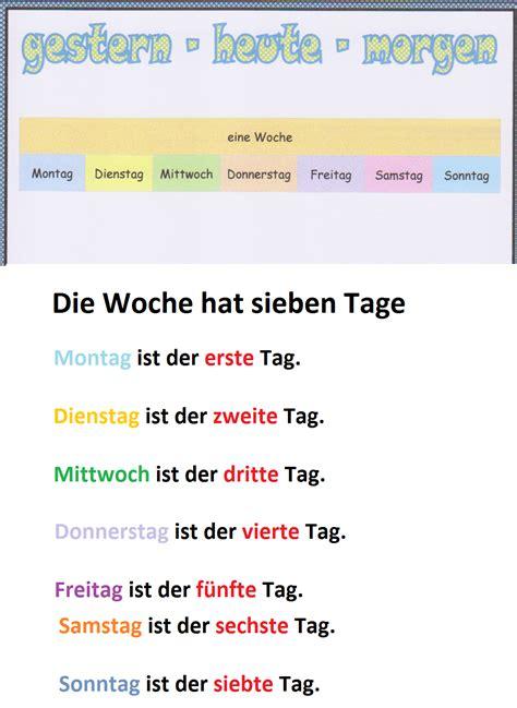 wochentage monate jahreszeiten deutsch ist  lustig