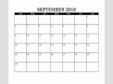 September Calendar 2018 Word – Free Printable 2018