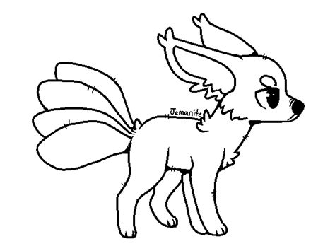 Free Ms Paint Friendly 4-tailed Kitsune Lineart By