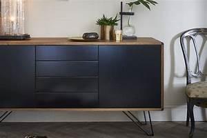 Buffet Design En Bois Et Noir Pieds En Mtal Laqu Noir
