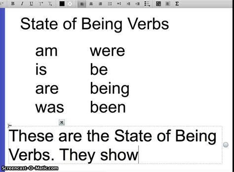 La State Of Being Verbs Youtube