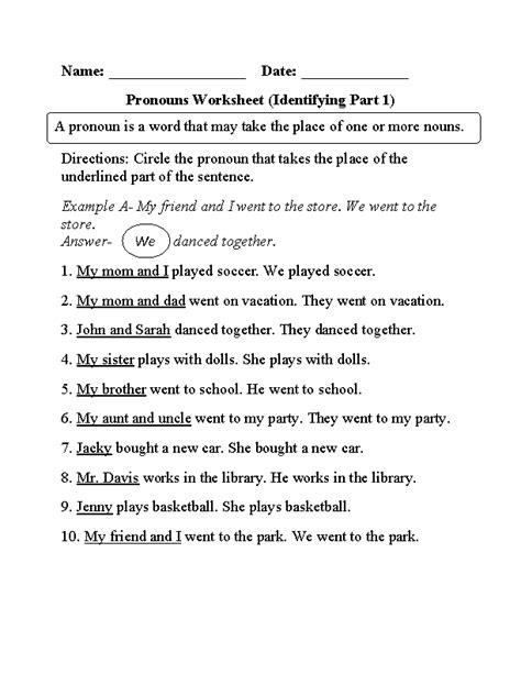 Pronouns Worksheets  Regular Pronouns Worksheets