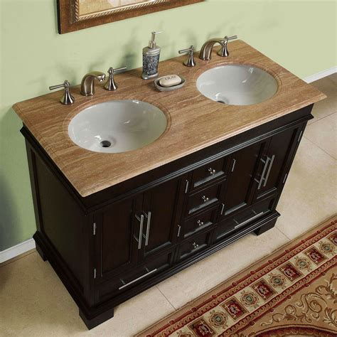 48 vanity with top and sink 48 inch compact double sink travertine stone top bathroom