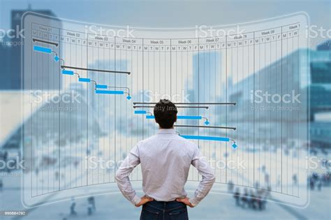 Project Manager Working With Gantt Chart Planning Tracking ...