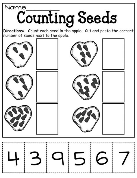 counting seeds cut  paste countingnumbers