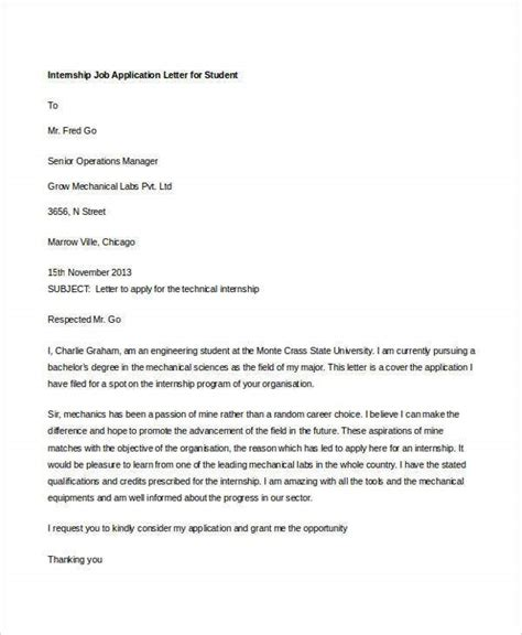 sample job application letters  student