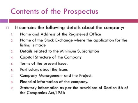 business prospectus template contents of prospectus of a company