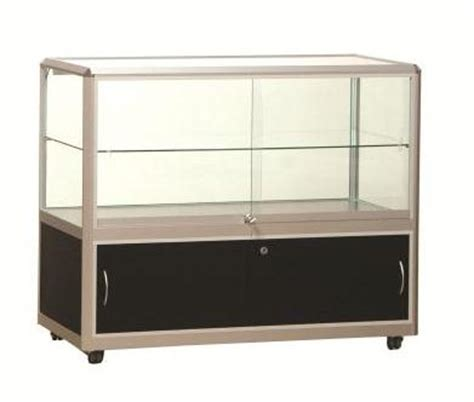 used lockable glass display cabinets counter showcases for hire