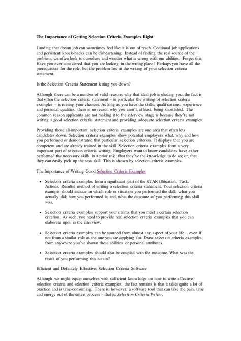 How To Address Selection Criteria In Cover Letter Exles by Sle Cover Letter How To Write A Cover Letter