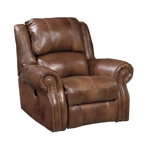ashley walworth leather power rocker recliner  auburn